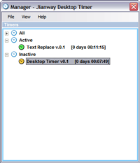 Screenshot of Desktop Timer Manager screen